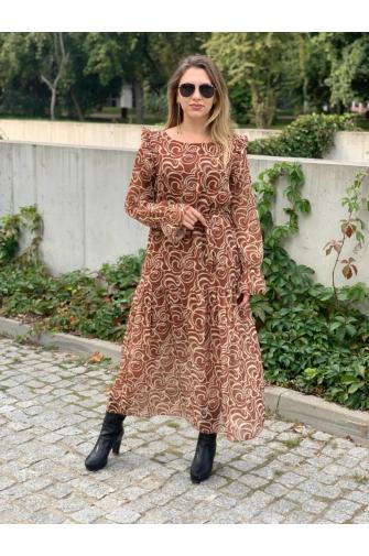 Sukienka CATERINA midi BRĄZ